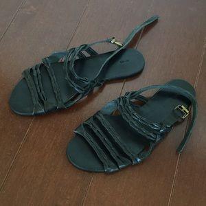 Ecoté Black Leather Sandals SZ 8